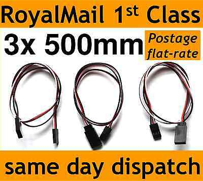 3x 500mm Servo Extension Lead Wire Cable For RC/Futaba/JR/Hitec  • 3.20£