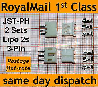 2x JST-PH Connector Plug: (Male, Female, 3 Crimps) For Lipo 2s Extension Adapter • 1.70£