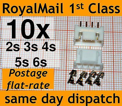 10x JST-XH Connector Plug 2s 3s 4s 5s 6s Balance Extension Male Female 2.5mm • 2.90£