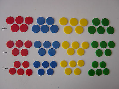 Counters, 20mm / 22mm / 25mm Plastic, Tiddlywinks / Board Games, Various Colours • 3.50£