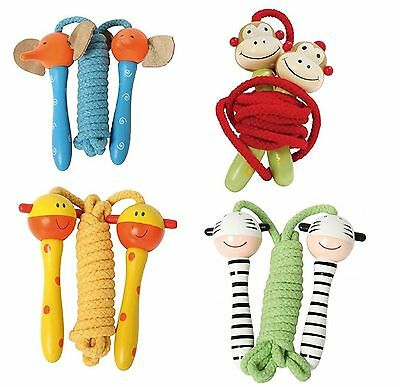 Kids Wooden Handle Skipping Rope Animal Face Zoo Character Exercise Jumping Hoop • 6.99£