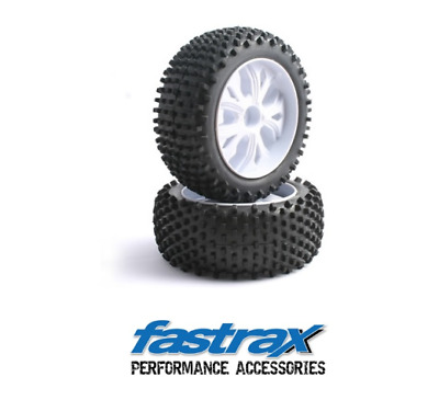 Fastrax FAST0032 Front Block Tyre Off-Road 10-Spoke White Pair 1:10 Scale • 16.20£