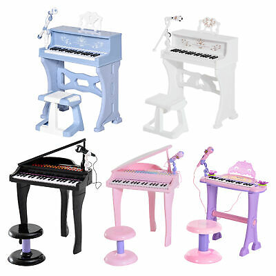 37/32 Key Kids Electronic Keyboard Mini Grand Piano Stool Microphone Musical Toy • 42.99£
