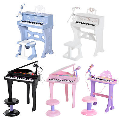 37/32 Key Kids Electronic Keyboard Mini Grand Piano Stool Microphone Musical Toy • 29.99£