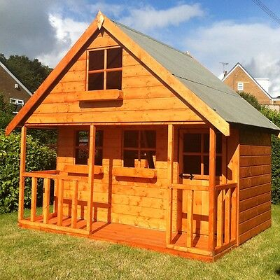 Children's Wooden Playhouse 8x8 Mini Chateau Wendy House T&G Throughout Den • 918.40£