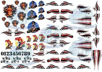 Shark Mouth & Bomber Girl - ARMY Waterslide Decals For Model Cars In All Scales • 7.76£