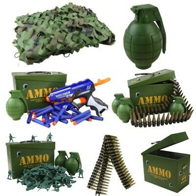 Kids Army Toys Den Kit Camo Net Ammo Tin Grenade Gun Belt Boys Soldier Role Play • 17.95£