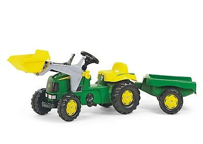 RollyKid John Deere Ride On Pedal Tractor + Front Loader + Kid Trailer - Rolly • 109.99£