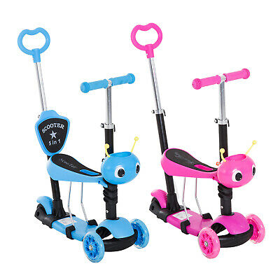 5-in-1 Kids Kick Scooter 3-wheel Walker Ride-on Walker W/ Removable Seat • 32.99£