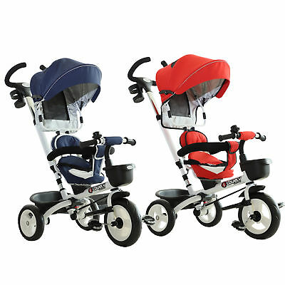 4-in-1 Baby Tricycle Stroller Folding Kids Trike Detachable W/ Canopy • 77.99£