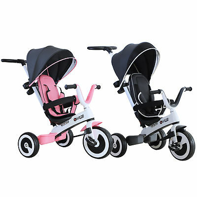 Baby Tricycle Children's 4 In 1 Trikes Kids Stroller W/ Canopy 3 Wheels • 77.99£