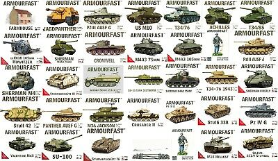 Armourfast Wargame Model Tank Kits 2 Kits Per Box 1:72nd Scale Complete Range • 9.99£