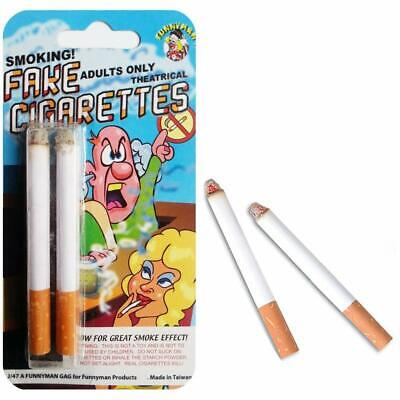 Two 2 Fake Puff Stage Cigarettes Fags Smoking Prop Funny Joke Trick Boys Toy • 3.05£