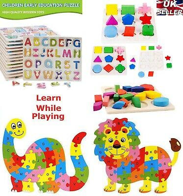 Wooden Puzzle Baby Kids Toddler Jigsaw Alphabet Letters Animal Learning Toys DIY • 4.29£