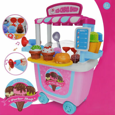 Cute Kids Simulation Ice Cream Shop Dresser Cart Pretend Toy Set Role Play Gift • 13.99£