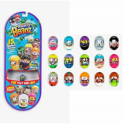 Mighty Beanz MEGA PACK Contains 15 Beanz Flip Roll N Race Toy NEW • 18.49£