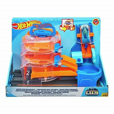 Hot Wheels Super Spin Dealership Garage With 1 X Car Toy Set New • 28.95£