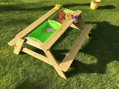 Outdoor Bench Picnic Table Sand Water Pit Garden Sandpit Childrens Fun Play • 69.95£