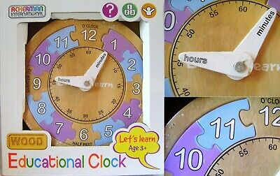Educational Wooden Clock 12 Piece Jigsaw Puzzle Pre-school Learning Time Toy • 7.49£