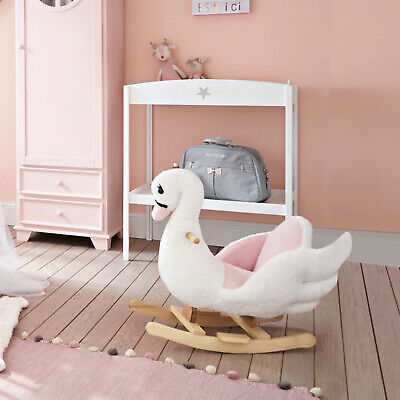 Plush Kids Ride On Rocking Horse Swan Style Toy, White And Pink • 52.99£