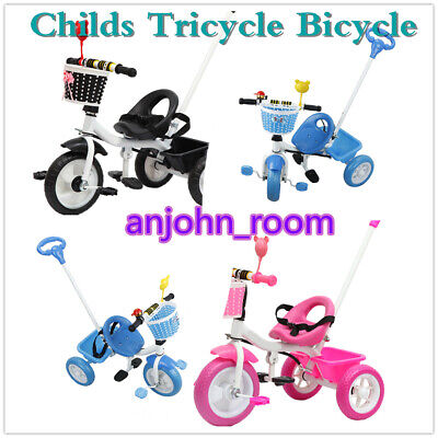 Children's Trike My First Trike Kids Ride Bike Parent Handle Push Along Tricycle • 29£