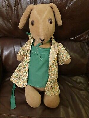 Vintage Arm Jointed Flopsy Earred Rabbit Bunny & Clothes 70/80s Watership Down? • 10£