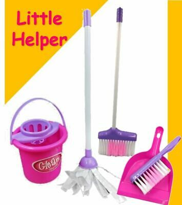 Kids Cleaning Role Play Set Childrens Toy Kitchen Helper Dustpan Sweeping Brush • 9.49£