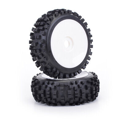 1:8th Block Tyres On White Dish Wheels X 2 Core RC BW2001 Buggy Wheels 17mm  Hex • 16.99£