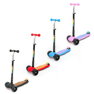 Kids Scooter Child Kick Flashing LED Light Up 3 Wheel Push Adjustable Folding UK • 26.99£