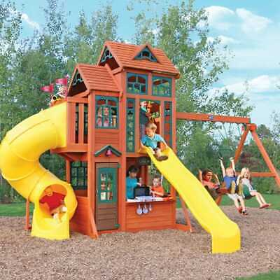 Kidkraft Canyon Ridge Wooden Playset | Kids Wooden Play House Swing Slide Set • 1,699£