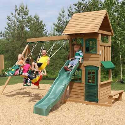 Kidkraft Windale Wooden Swing And Slide Playset | Playhouse, Rock Wall, Bench • 799£