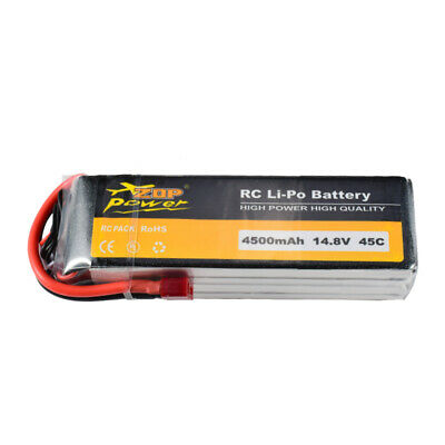 ZOP Power 4500mAh 4S 14.8V 45C Lipo Battery T Plug For RC Racing Car Drone • 25.57£