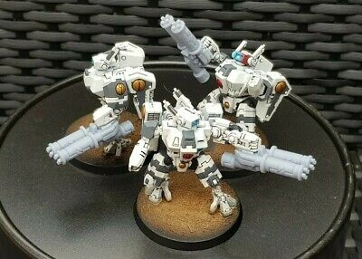 3x Twin Linked Burst Cannon Tau Empire Crisis Hazard Commander Dual 40k • 7£