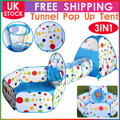Portable 3 In 1 Kids Baby Play Tent Tunnel Ball Pit Playhouse Ocean Ball Pool • 19.99£