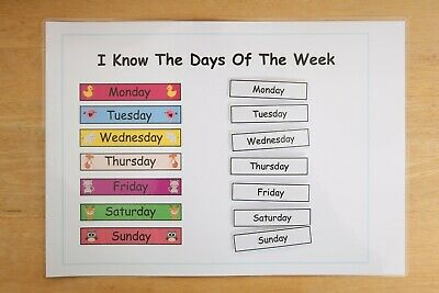 Pre School, Toddler, Home Learning Days Of The Week Activity Learning Sheet • 2.90£
