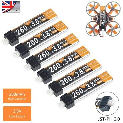 6x 3.8V 260mAh HV 30C 1S LiPo Battery JST-PH 2.0 For Tiny Whoop FPV Racing Drone • 12.99£