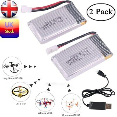 UK 2pcs 650mAh 3.7V Lipo Battery W/ Charger For Syma X5C F5C X5SW RC Drone RC165 • 7.99£