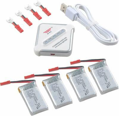 4pcs 3.7V 650mAh 1S 25C Lipo Battery JST Plug + Charger For RC Drone Quadcopter • 12.99£