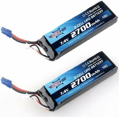 2Pcs 2700mAh 7.4V 10C Hubsan LiPo Battery EC2 Connector For Drone H501S X4 H501C • 29.99£