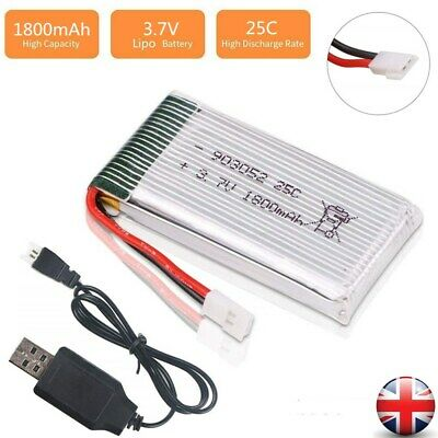 3.7V 1800mah Lipo Battery 25C XH2.54 Plug W/ USB Charger For RC Drone Quadcopter • 7.99£