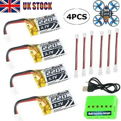 4pc 3.7V 220mAh 1S LiPo Battery 35C W/ 6-in-1 Charger & Cable For JJRC RC Drone • 10.79£
