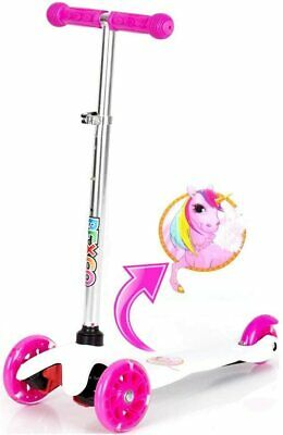 Unicorn Push Kick  Childrens Kids Scooter Girls Light Up 3 Wheels Toy White PinK • 21.99£