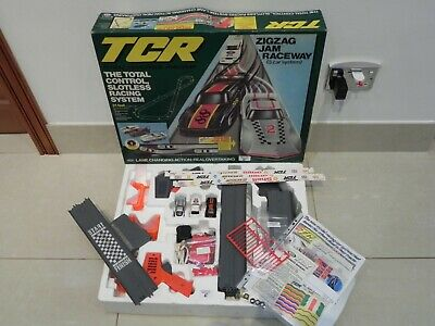 (E) RARE Ideal Lighted TCR Zig Zag Jam Race Set  - Restored And Ready To Race  • 85£