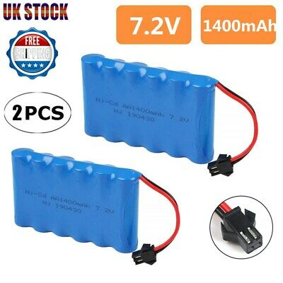 2Pcs 7.2V 1400mAh NI-CD AA Battery Pack With SM Connector For RC Car Boat Toys • 11.99£