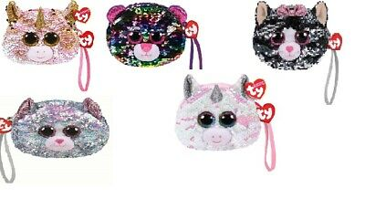 TY Beanie NEW With Tags ~ Sequin Wristlet Purse Whimsy The Cat • 6.99£