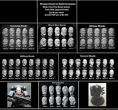 Male And Female Model Heads For Warhammer, Warmachine Etc - 7mm Size (large) • 2.40£