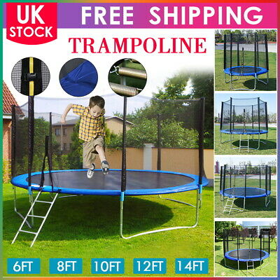 6 8 10 12 14ft Trampoline With Safety Net Enclosure Spring Cover Padding Ladder • 295.29£