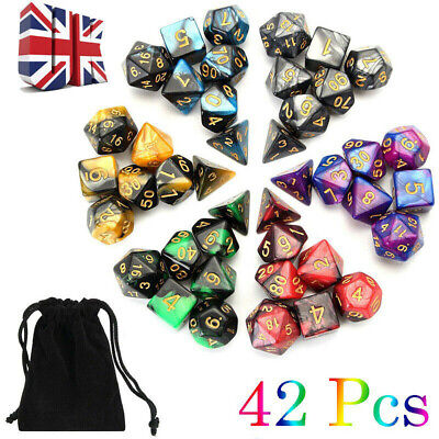 42pcs/Set Game Dungeons & Dragons Polyhedral D4-D20 Multi Sided Acrylic Dice • 9.99£