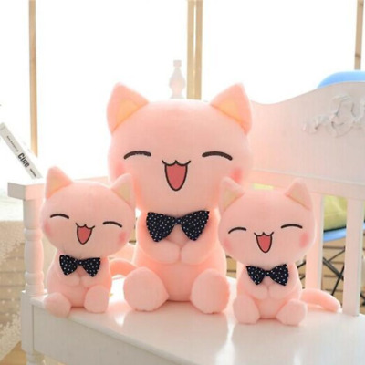 Plush Doll Pink Smiley Cat Soft Pillow Home Decoration Cushion Girlfriend Gift • 18.88£