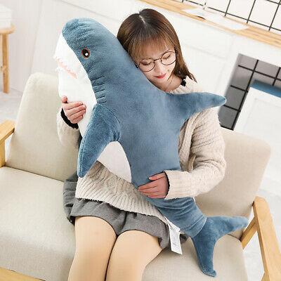 80CM Chubby Shark Plush Toy Animal Cute Ocean Pillow Pet Stuffed Doll Kids Gift • 15.56£